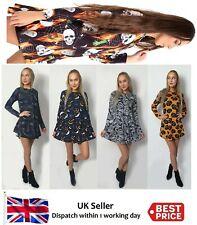 New Ladies Womens Halloween Costumes Pumpkin,Skull,Spider, Trick O Treat Dress