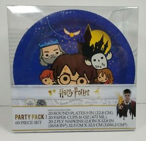 "Harry Potter Party Pack 60 Piece Set 9"" Plates, Napkins, 16 oz Cups -New, Unused"