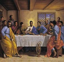 """THE LAST SUPPER BLACK JESUS POSTER PRINT AFRICAN AMERICAN ART 24""""x36"""" NEW"""