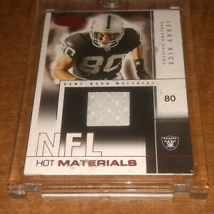 Jerry Rice 2004 Hot Prospects Hot Materials Game Used Jersey Card  48 /50 MINT !