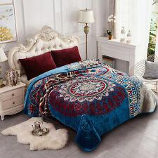 """King Size Heavy Mink Blanket Soft Reversible Bohemian Blanket 9lbs 85""""x95"""""""