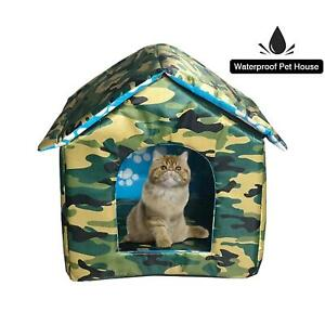 Heated Outdoor Cat House Weatherproof Cat Small Dog Warm Pet Shelter Carrier