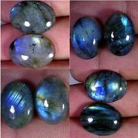 100% Natural Blue Multi Fire Labradorite.PAIR OVAL CabOCHON  Gemstone MOM160