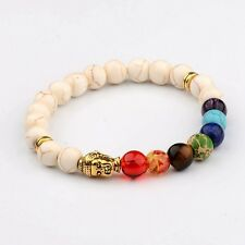 Golden Buddha 7 Chakra Healing Balance Beaded Yoga Reiki Natural Stone Bracelets