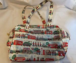 Cath Kidston LONDON Street Scene Print Tote Carry Travel Bag Patent Cream
