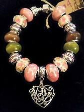 """7"""" CUSTOM EUROPEAN CHARM BRACELET #4 STERLING SILVER """"MOTHER"""" LEATHER CLASP BAND"""