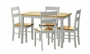 Home Chicago Solid Wood Dining Table & 4 Grey Chairs