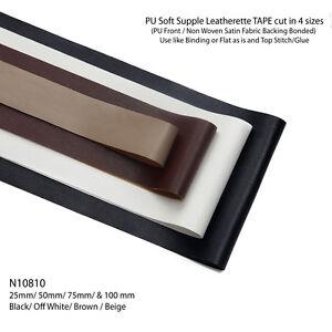 Neotrims PU Faux Imitation Leather Cut Binding Flat Tape Trimming Ribbon, Bias