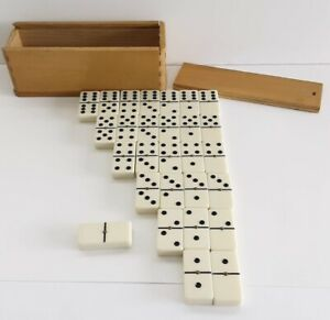 Dominoes Game Set of 28 White Pieces with Brass Spinner 12mm Thick - Wooden Box