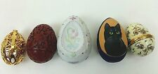 Lot Of 5 Collectible Decorative Hand Carved, Painted Egg Wood Enamel Hinged Gold