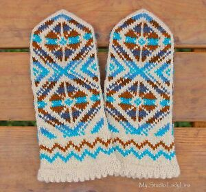 Hand-knit Wool Mittens - Colorful Mittens - Women Men Blue Gloves 100% wool