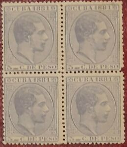 Sellos CUBA 1878 ,Afonso XII ,Bloque 4,  5 c. de peso