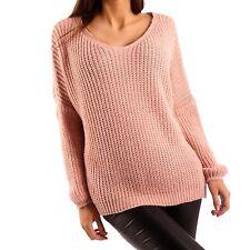 Damen-Pullover & Mittel mit Hüftlang und Baumwollmischung ohne Muster