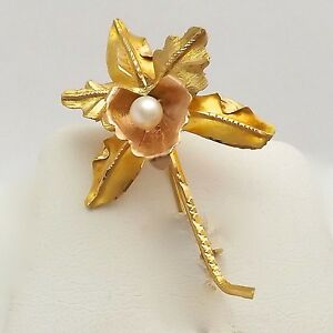 Vintage 18K Rose And Yellow Gold 3D Seed Pearl Orchid Flower Brooch Pin 4 Grams