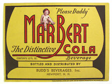 Budd's Beverages for Marbert Products MARBERT COLA soda pop label NH 12oz