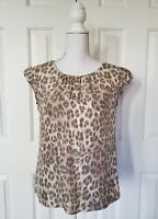 Banana Republic Womens Blouse XS Silk Beige Gray Animal Print Short Sleeve Top