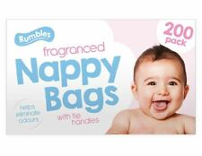 200 Disposable Nappy Bags Fragranced Baby Diaper Hygienic Tie Handle Sacks