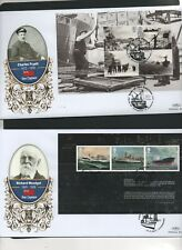 GB 2013 Benhams Gold FDC Merchant Navy Booklet Panes 4 postmark stamps 4 covers