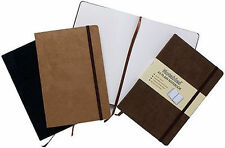A5 SOFT FEEL PLAIN NOTEBOOK - EXPANDABLE POCKET - LIKE MOLESKINE - BLACK