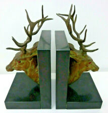 Rare ,Antique French bookends, Art Déco, stag head, in métal and marble terrace