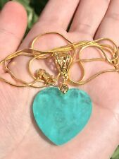 LUXURIOUS HEART NATURAL GLOWING NEON COLOMBIAN EMERALD NECKLACE EXOTIC BLUE
