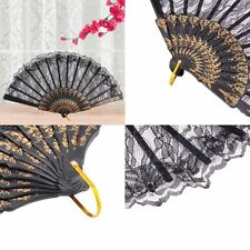 New Black Chinese Vintage Folding Lace Hand Fan Costume Party Fancy Dress