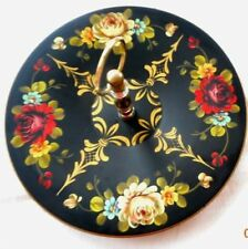 TOLEWARE FLOWERED COOKIE OR DESSERT PLATTER WITH HANDLE