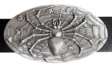 Spider on Her Web Belt Buckle - Hand Made in Pewter