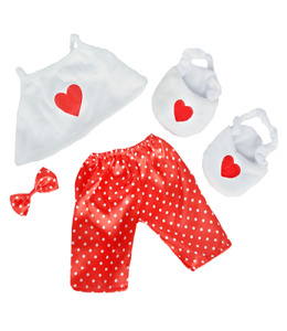"Satin Heart PJs Pyjamas Teddy Bear clothes outfit to fit 8"" - 10"" 20cm bears"