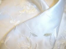 FAUX- SILK  SATIN EMBROIDERED ROSES BRIDAL FABRIC  46 CMS x 81 CMS. NEW ITEM!