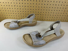 Rieker womens gray brown Regina rhinestone circle slingback sandals 40 9.5 M EUC
