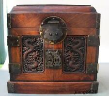"10"" China Huanghuali Wood Dynasty Carved Dragon Drawer Jewelry Cabinet"
