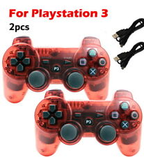 2x Wireless Game Controllers For Sony PS3 Playstation 3 Transparent Red
