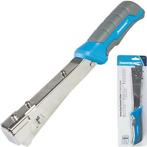 Silverline Hammer Tacker Carpeting Upholstery Insulation Roofing Stapler 6-10mm