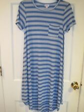 LuLaRoe Carly Blue Striped Short Sleeve Dress Size XS Vacation NWOT
