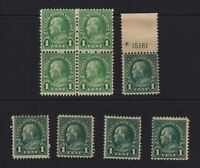 1923 Sc 552 MNH mixed lot, plate number, block, singles  CV $22