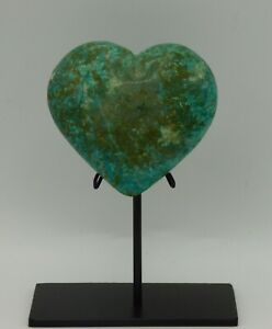 Chrysocolla Puff  Heart Crystal   215 gms  8 x 7  cm Hand Crafted Steel Stand