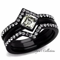1.90 CT PRINCESS CUT CZ BLACK STAINLESS STEEL WEDDING RING SET WOMEN'S SIZE 5-10