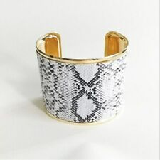 Snakeskin Cuff Bangle Bracelet Faux White Python Snake Print Gold Tone Titanium