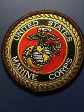 """US MARINE CORPS USMC Embroidered Patch 3"""" Diameter With Hook And Loop Back."""