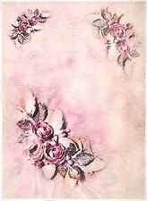Ricepaper per Decoupage Decopatch Scrapbook Craft sheet a/3 fiore sulla Colore Rosa