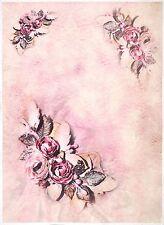 Carta di riso per Decoupage Decopatch Scrapbook Craft sheet A/3 fiore sulla Colore Rosa
