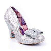NEW IRREGULAR CHOICE *NICK OF TIME* SILVER (AQ) GLITTER BOW FLORAL PRINT