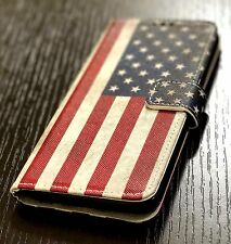 Samsung Galaxy S8+ PLUS - Card Wallet Diary Pouch Phone Case USA American Flag