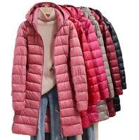 Women Midi Puffer Down Jacket Lightweight Waterproof Warm M-4XL Winter Outwear D