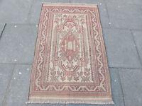 Old Hand Made Afghan Tribal Mushvani Oriental Wool Brown Fadad Kilim 142x90cm