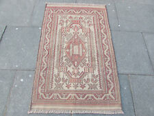 Old Hand Made Afghan Tribal Mushvani Oriental Wool Brown Fadad Kilim 142x90cm