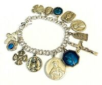 Vintage Sterling Silver Catholic Medal Mary Guilloche Enamel Holy Water Bracelet