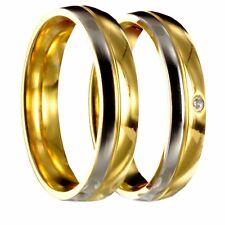 2 Edelstahl bicolor silber / gold Verlobungsringe + gratis Innengravur 40P168