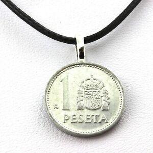 Collier pièce de monnaie Espagne 1 peseta Juan Carlos I